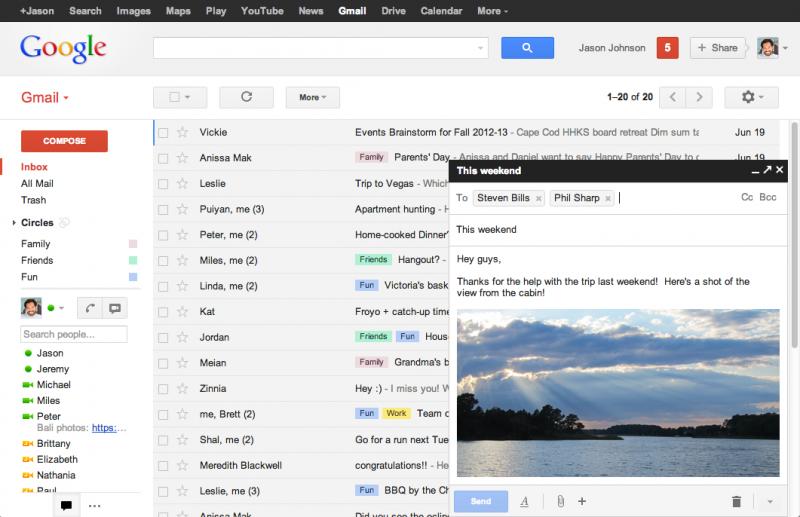 Novo formato do Gmail para enviar mensagens