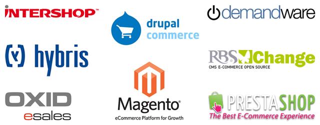 Algumas das principais plataformas de eCommerce disponíveis no mercado: Intershop, Drupal, Demandware, hybris, Magento, Esales, PrestaShop e RBS Change