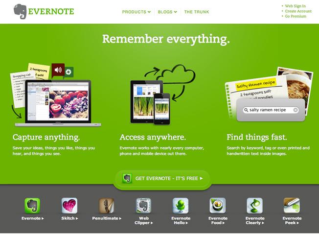 A landing page do Evernote é um ótimo sintetiza bem as nossas dicas