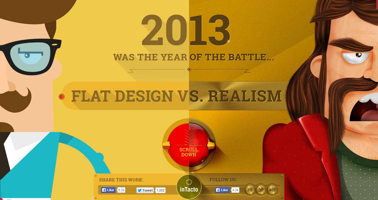 A batalha travada entre o flat design e o realismo resumida em um site