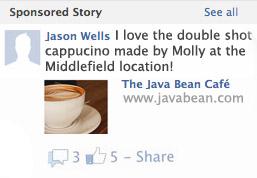 Exemplo de história patrocinada no Facebook