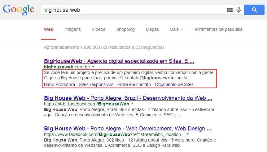 Exemplo de meta descrição do resultado de busca de Big House Web