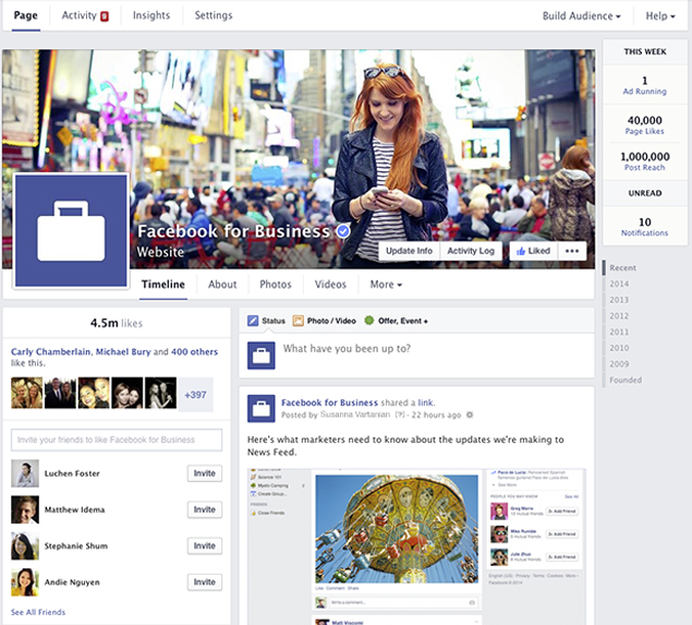 Novo design das fan pages do Facebook
