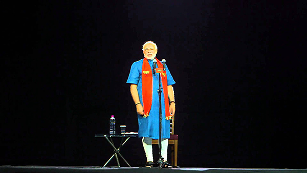 O holograma de Narendra Modi em um comício na ìndia