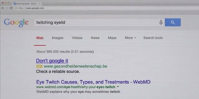 Campanha no Google AdWords adverte contra a busca por sintomas