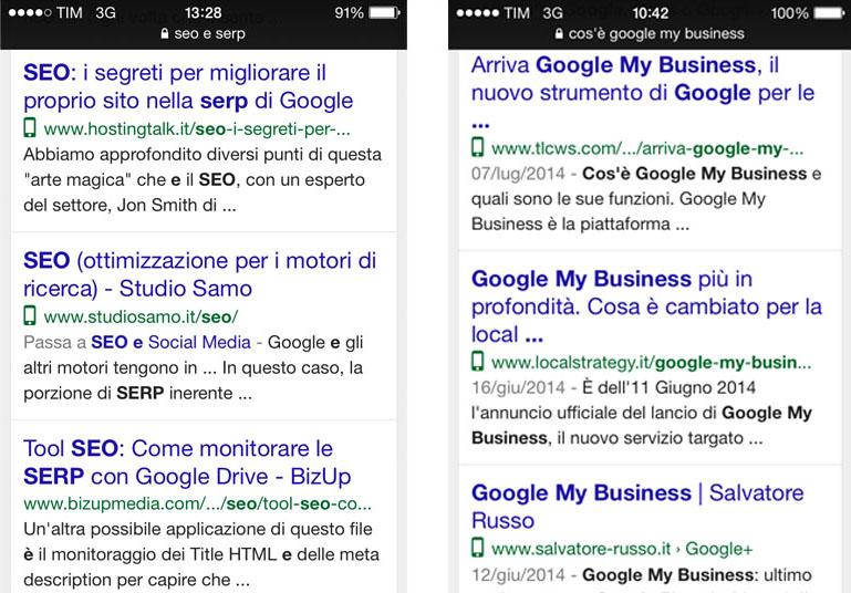 Os resultados de buscas virão com ícones indicando sites mobile.