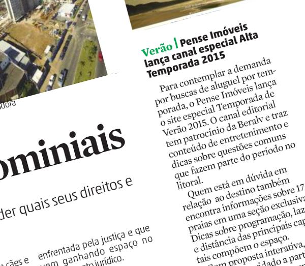 Nota no jornal Zero Hora sobre o portal Temporada de Verão